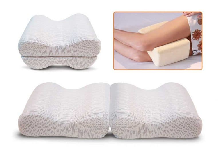 4 images of knee pillows in one