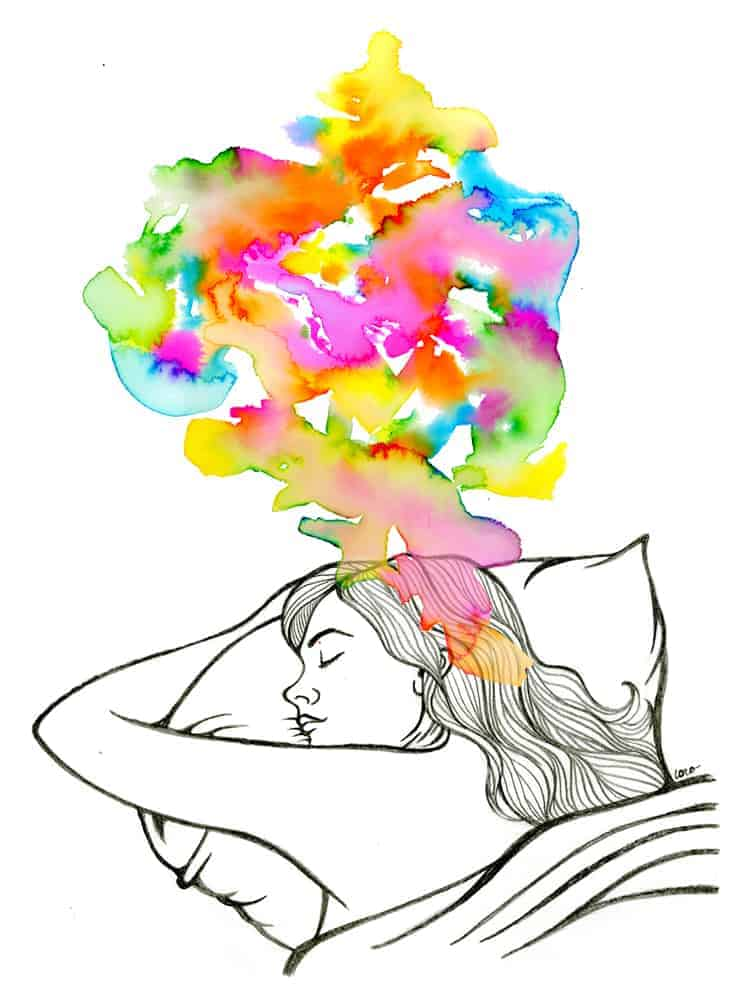 drawing of a girl sleeping with colourful dreams