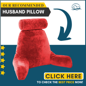 Husband Pillow - Red, Big Backrest Reading Bed Rest Pillow with Arms, Plush Memory Foam Fill, Remove Neck Roll Off Bungee, Change Covers, Zipper On Shell of Bed Chair for Adjustable Loft