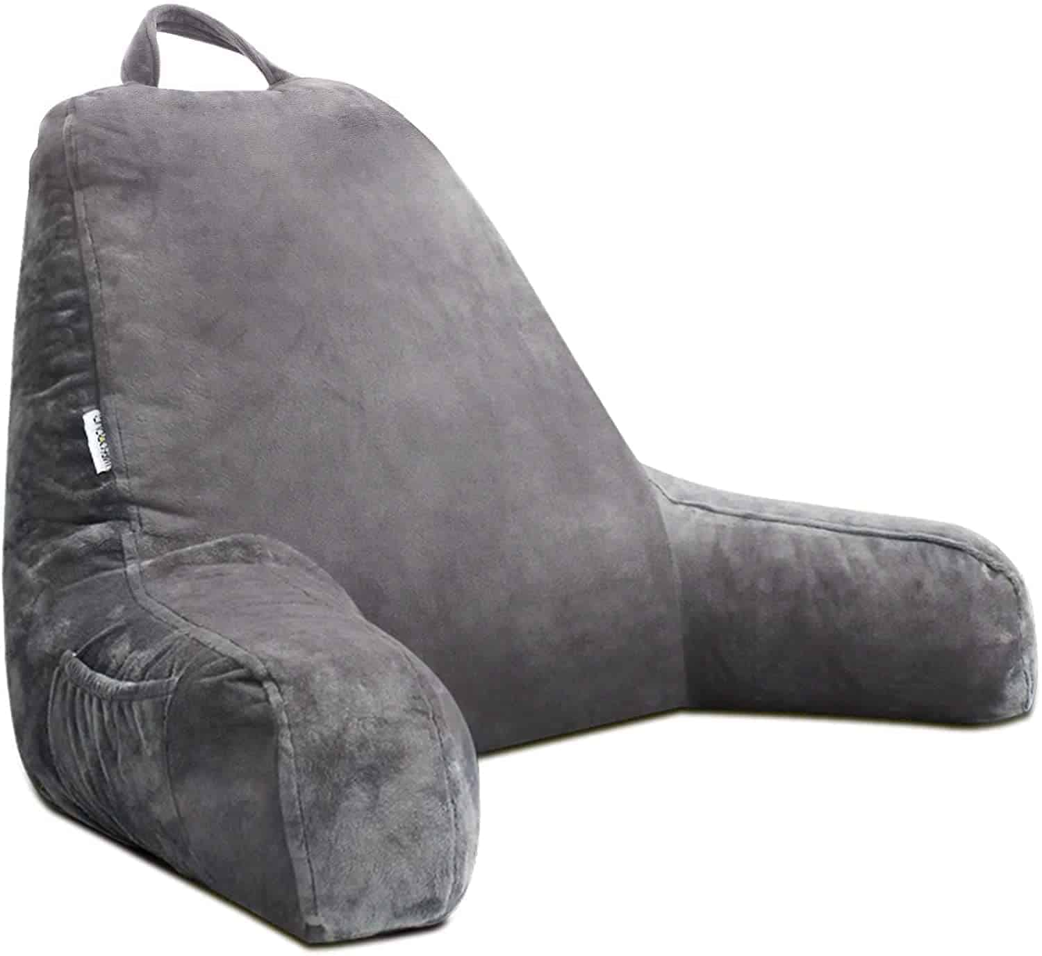 mittaGonG Backrest Reading Pillow with Arms Removable Cover Gray